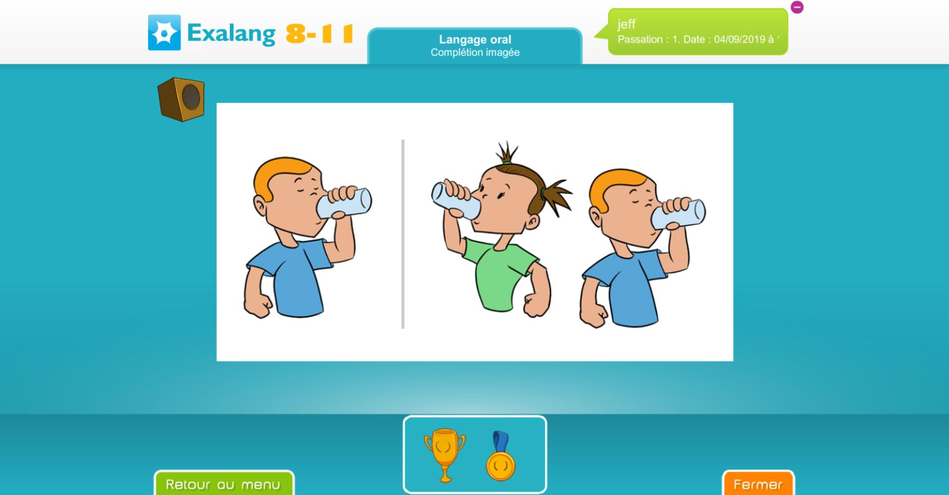 Exalang 8 11 logiciel de bilan de langage oral et écrit et test de langage des patients de 8 à 11 ans - Complétion imagée