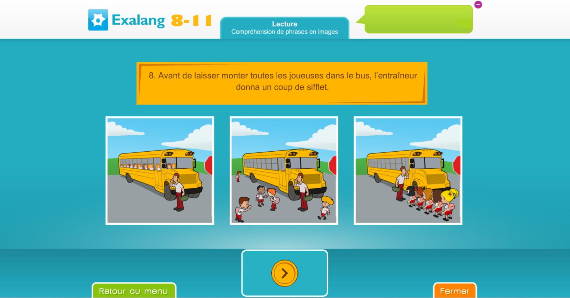 Exalang 8 11 batterie informatisée et logiciel de bilan de langage oral et écrit et test de langage des enfants de 8 à 11 ans : CE2, CM1, CM2, 6eme - compréhension de phrases en image et lecture