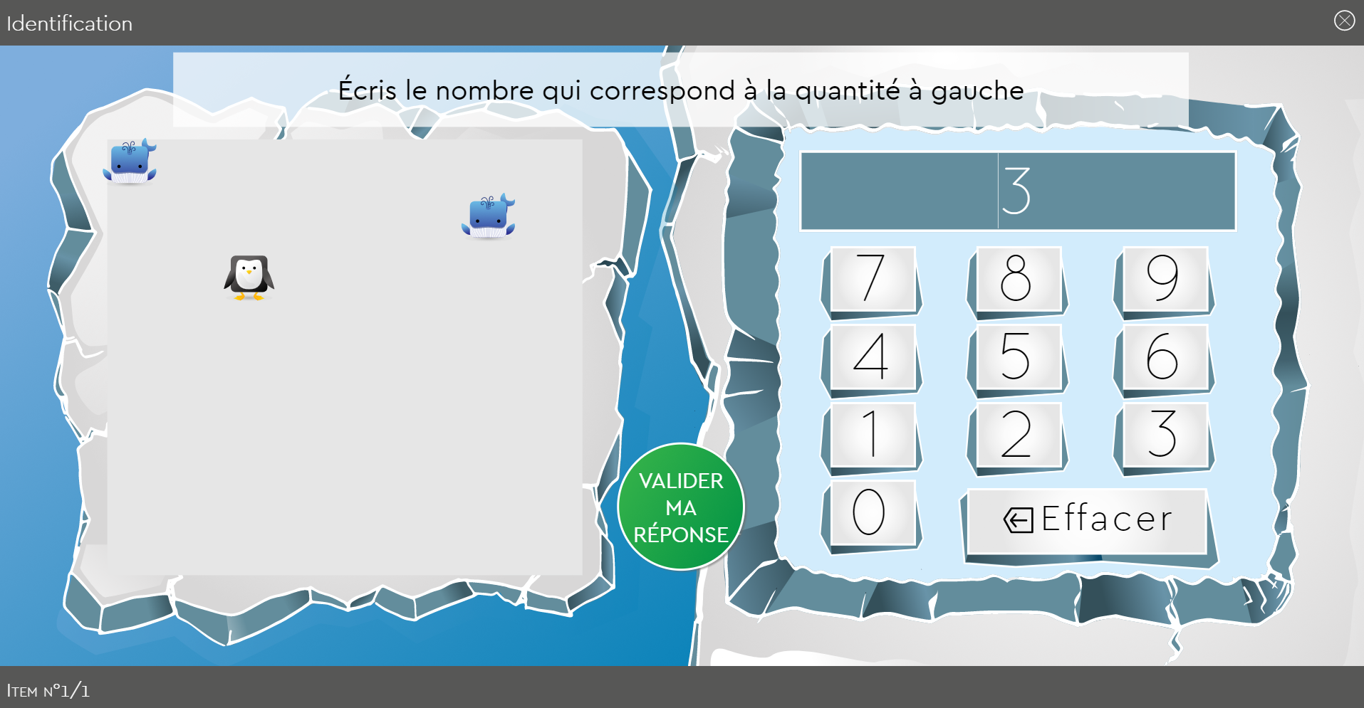 SUBéCAL : logiciel de rééducation de la cognition mathématique et dyscalculie pour l'amélioration du subitizing et des compétences de calcul, numération, quantification, sens du nombre. Activité identification avec décors Banquise personnages pingouin et baleine