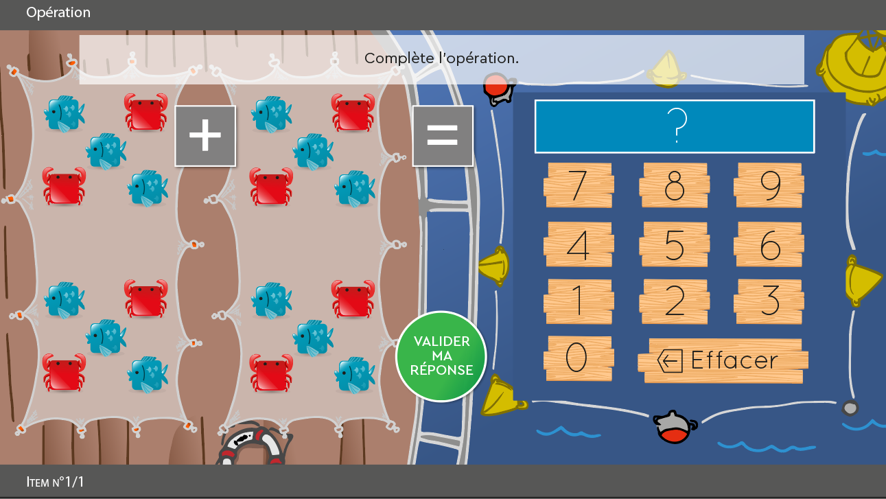 SUBéCAL : logiciel de rééducation de la cognition mathématique et dyscalculie pour l'amélioration du subitizing et des compétences de calcul, numération, quantification, sens du nombre. Activité opération avec décors Pêche personnages crabe et poisson