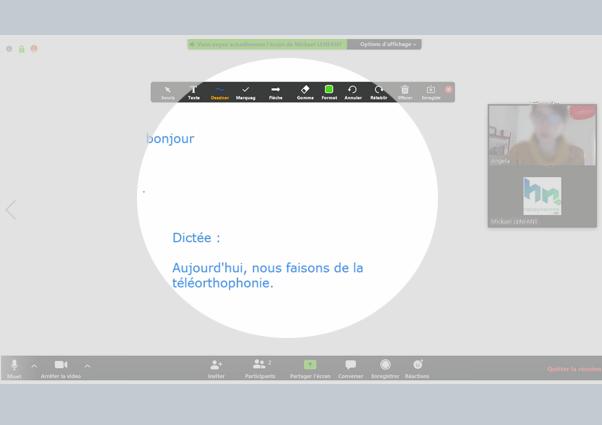Téléorthophonie : les outils pour la téléconconsultation et le télé soin en orthophonie. Outils visio, vidéo, appel, partage d'écran, partage d'activités de rééducation. Tuto Zoom utiliser la fonction marquage