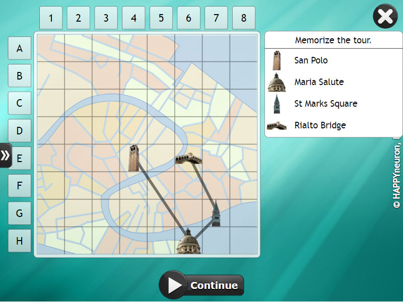 Screenshot of HappyNeuron Pro exercise An American in Paris