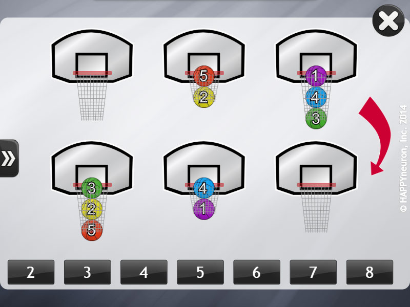 Screenshot of HappyNeuron Pro exercise Basketball in NY