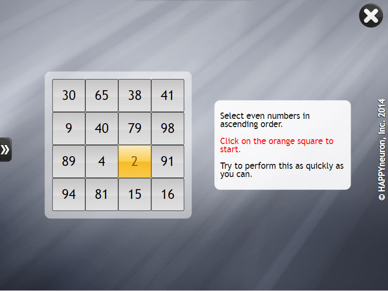 Screenshot of HappyNeuron Pro exercise The Right Count