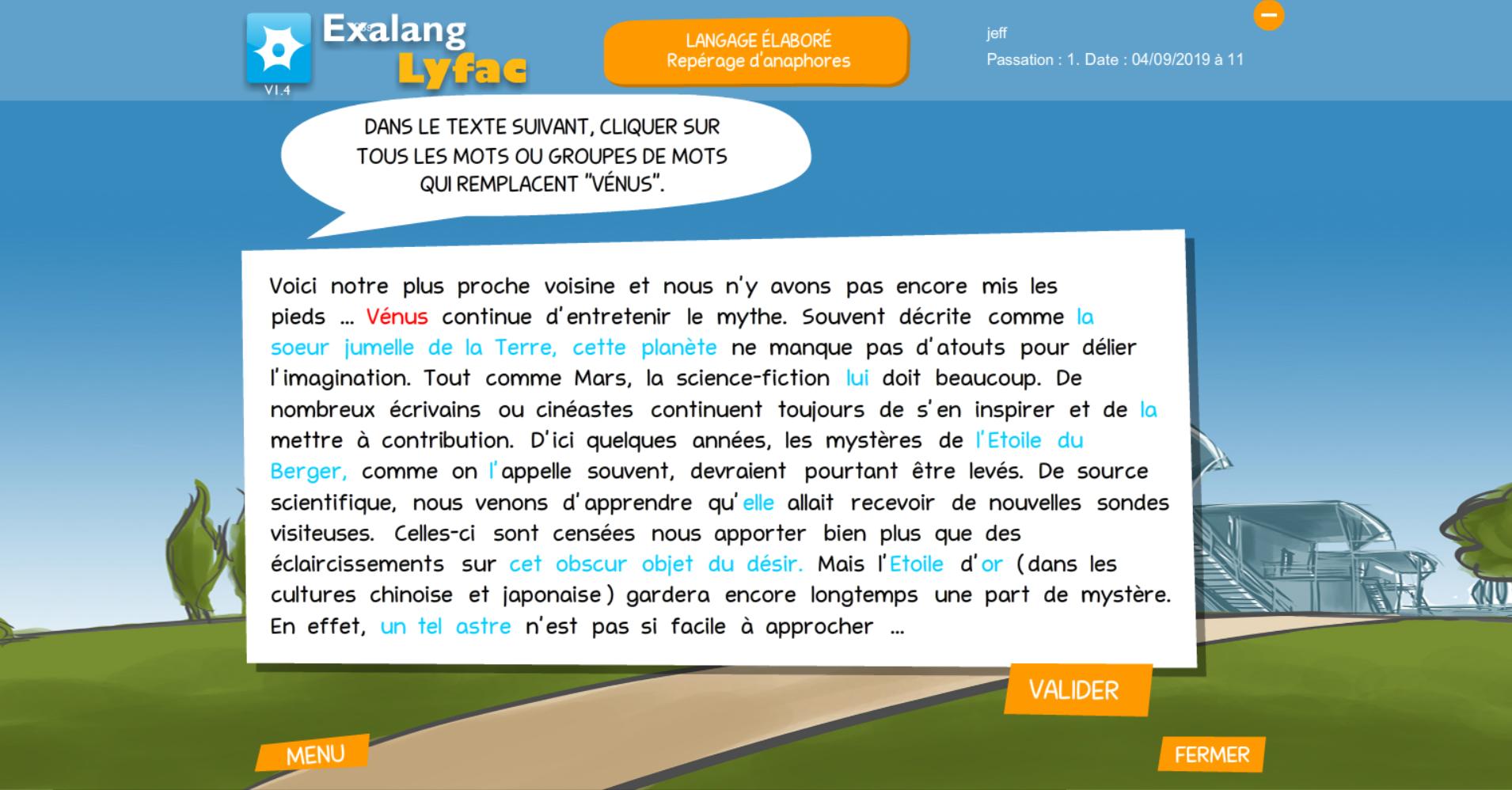 Exalang Lyfac logiciel de bilan de langage oral et écrit et test de langage des patients au lycée ou en université - langage élaboré repérage d'anaphores